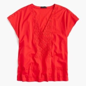 J. Crew Small Loose Fit Deep V Neck Eyelet Blouse